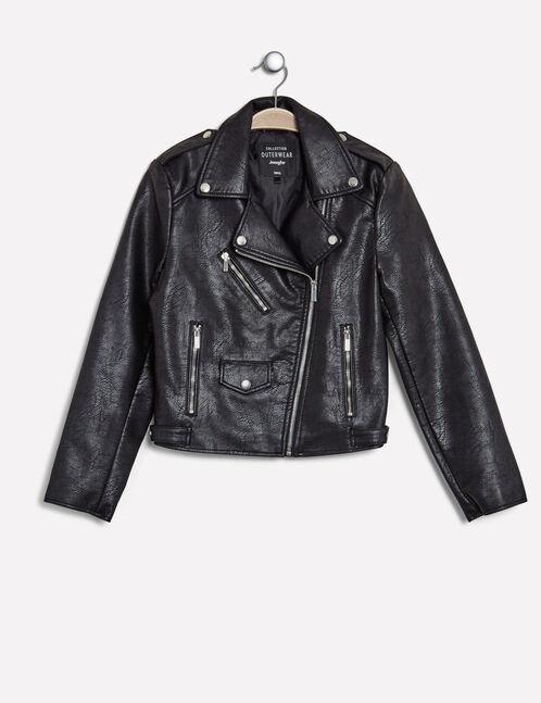 veste biker zip déco noire