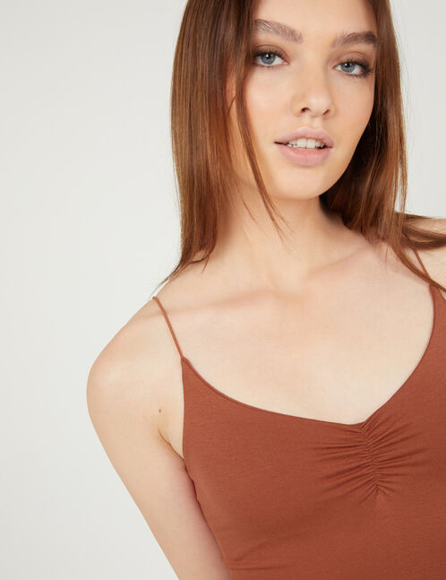 Rust-coloured spaghetti strap camisole