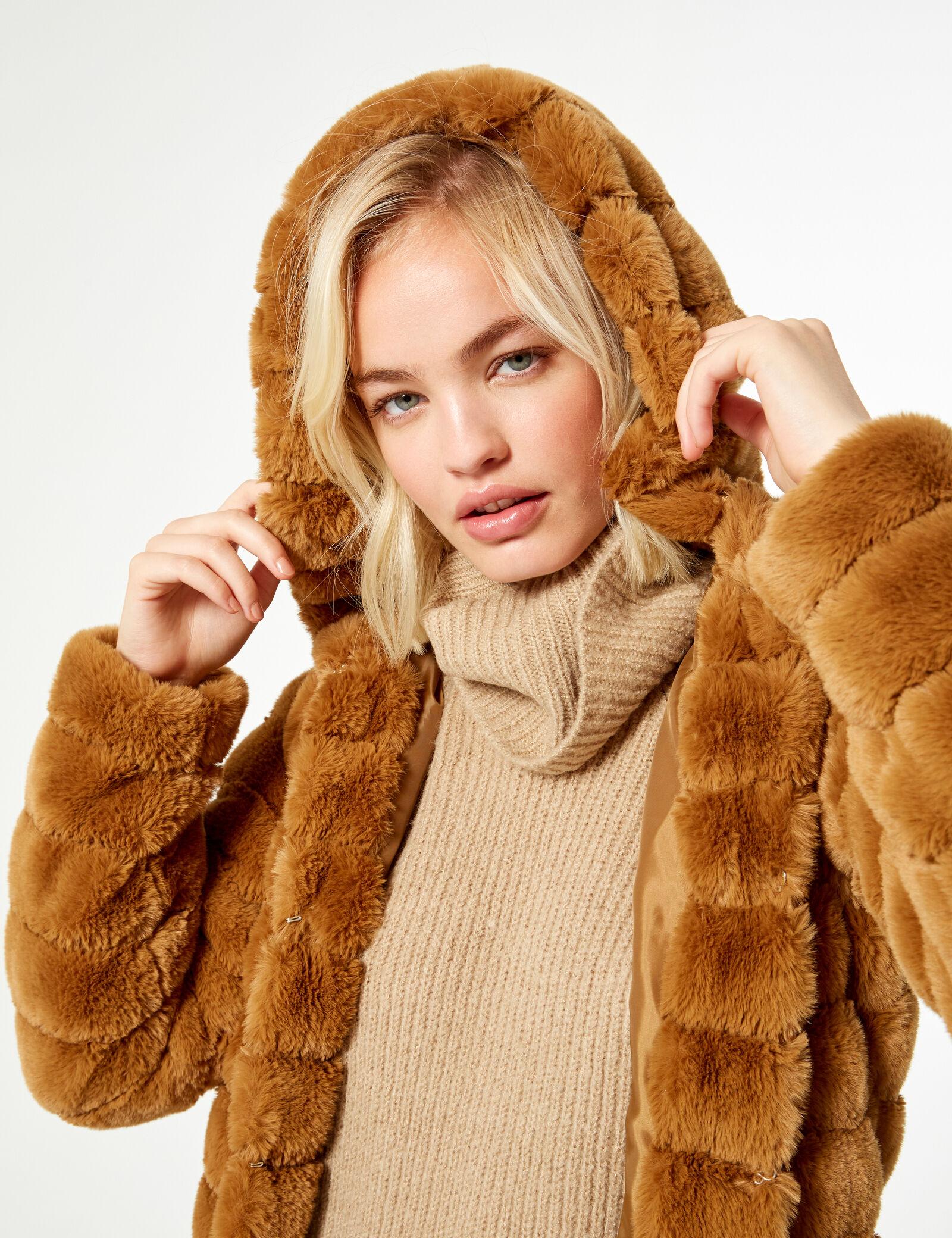 Manteau fourrure camel