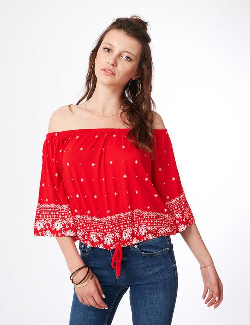 Red ethnic print T-shirt