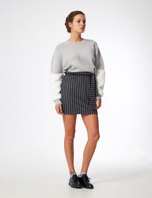 jupe avec fronces grise et écrue