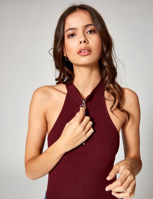 pull zippé sans manches prune