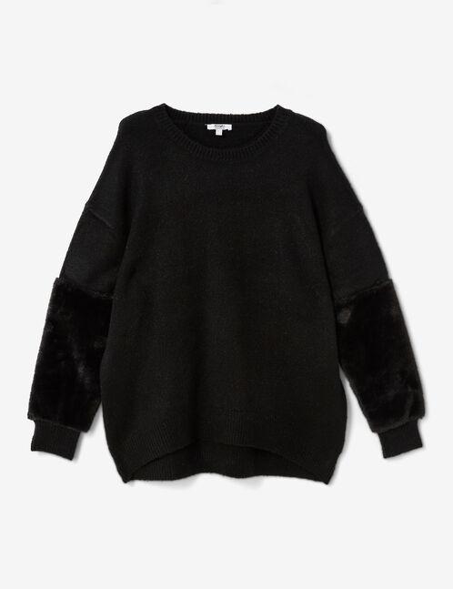 pull avec imitation fourrure noir