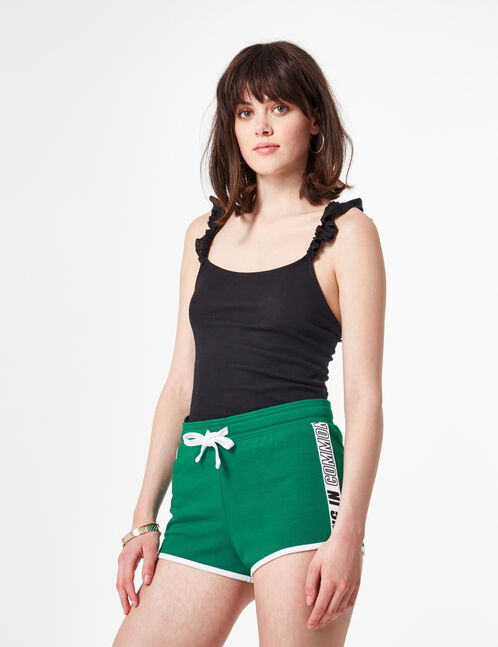 Green jersey shorts with text design detail