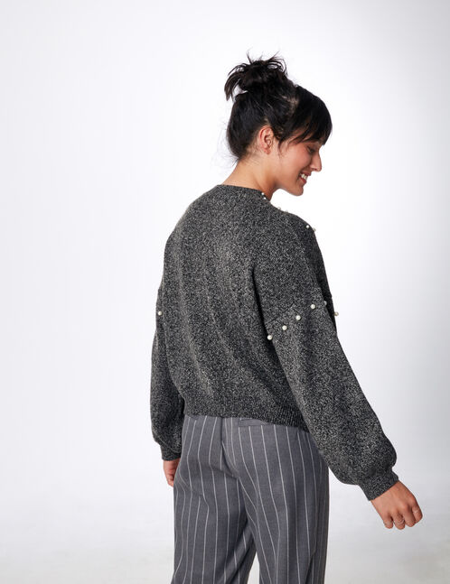 Grey marl jumper with pearl detail