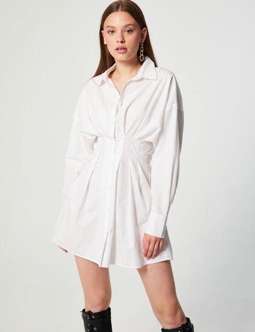 Robe chemise courte à plis