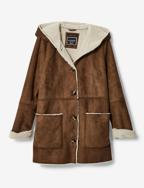 Long camel faux suede jacket