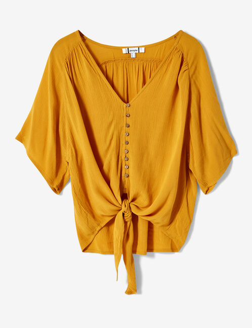 Ochre tie-fastening blouse