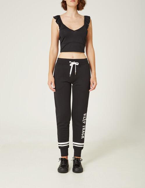 "Black ""keep track"" slim-fit joggers"