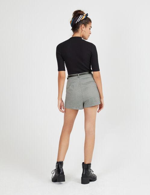 short motif pied de puce noir et blanc