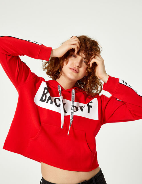 sweat back off rouge et blanc