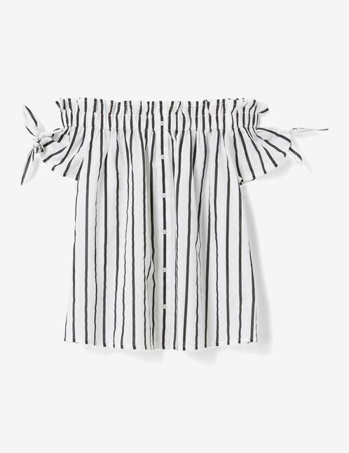 blouse épaules dénudées écrue et noire