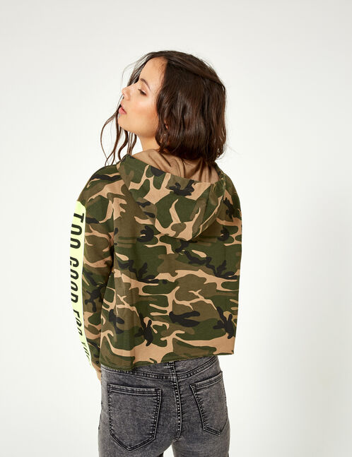 "Khaki and neon green ""back off"" camouflage hoodie"
