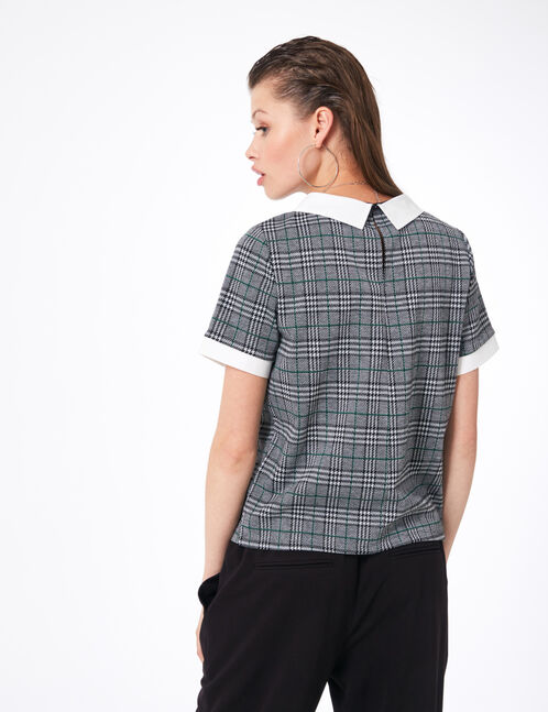 Black, grey and green T-shirt with white collar detail