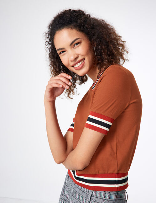 tee-shirt finitions rayées camel