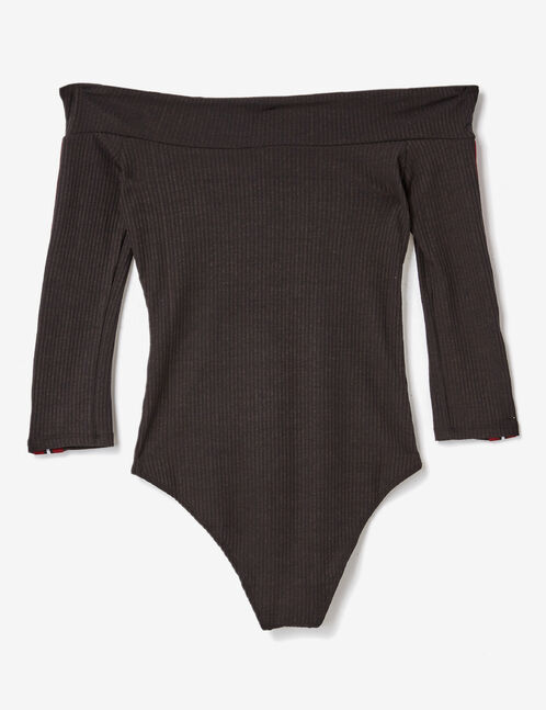Black bodysuit with stripe and beading details