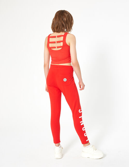 "Red slim-leg ""iconic"" joggers"