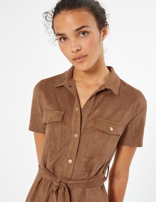 suedette shirt dress