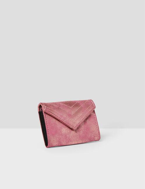 porte-monnaie rose clair irisé