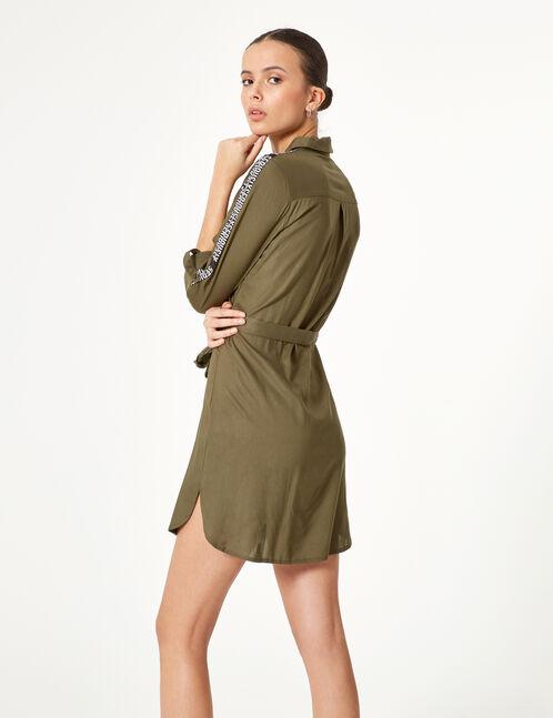 robe chemise avec bandes kaki