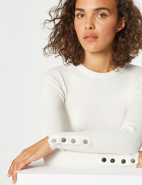 pull côtelé boutonné
