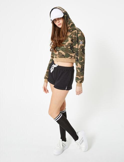 Basic black jersey shorts