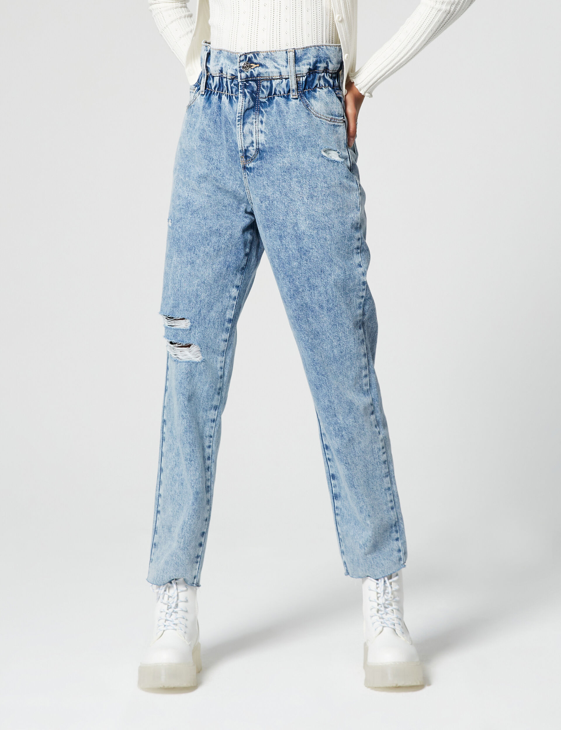 High-waisted paper bag jeans