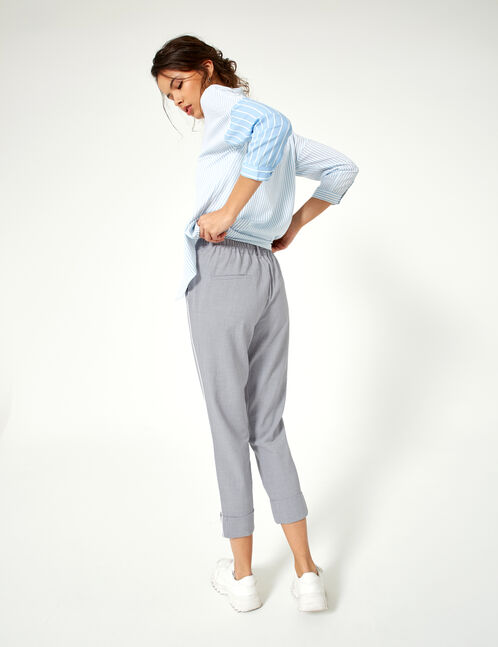 Grey marl and white turn-up trousers