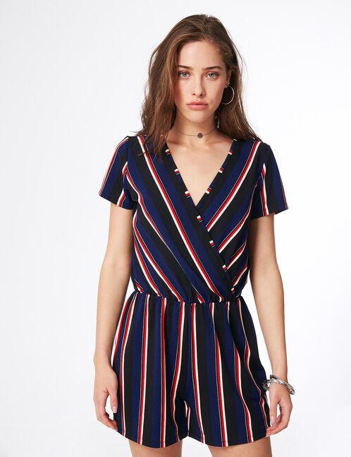 combishort cache-coeur rayée noire, bleue, rouge et blanche