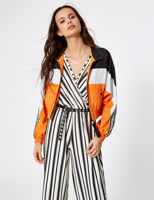 veste légère tricolore noir, blanc et orange