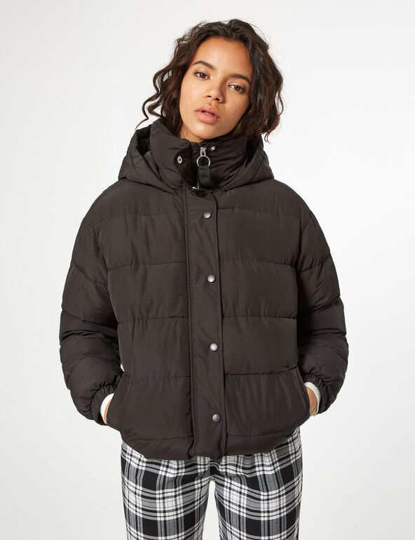 Cropped padded jacket with hood