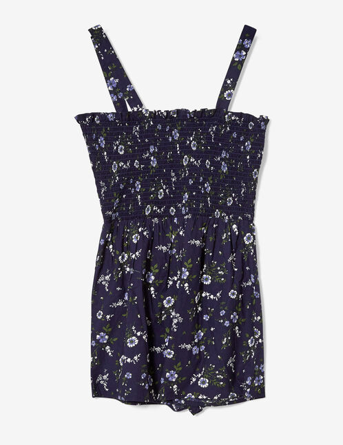 Navy blue floral playsuit