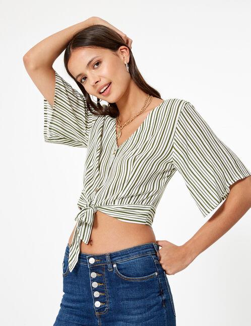 Khaki and cream striped buttoned shirt