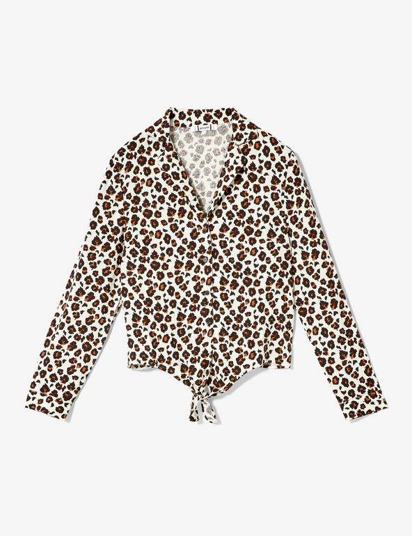 Cream and brown leopard print tie-fastening shirt