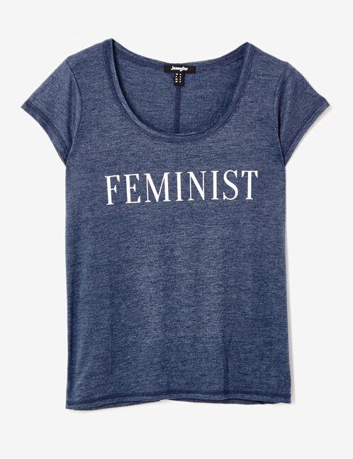 tee-shirt feminist bleu chiné
