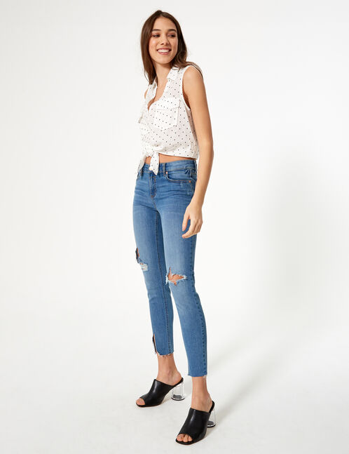 jean skinny taille basse bleu