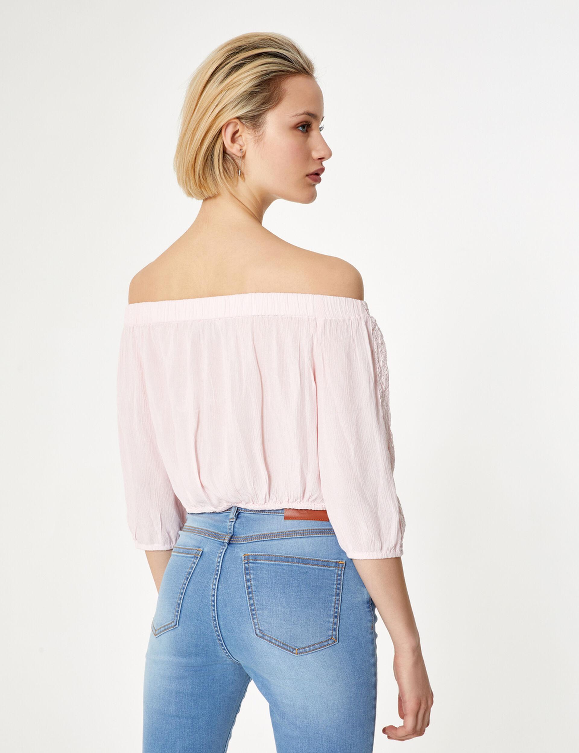 Pink cold-shoulder blouse