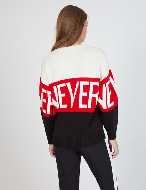 "White, red and black tricolour ""never"" jumper"