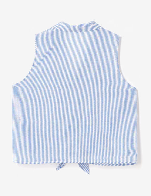 Light blue and white tie-fastening blouse