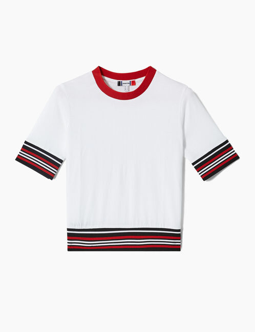 White, black and red T-shirt with striped trim detail