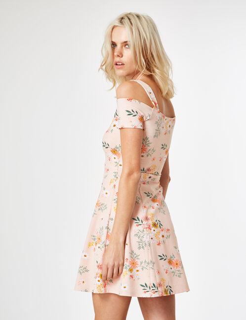 robe fleurie patineuse rose clair