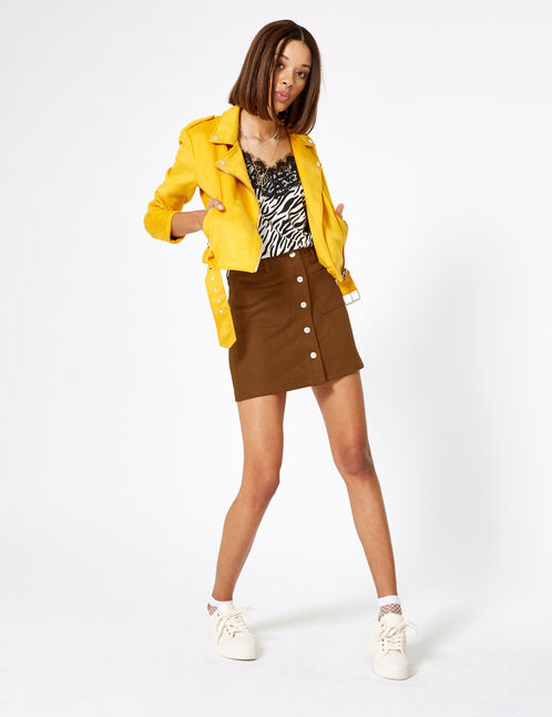 Camel faux suede buttoned skirt