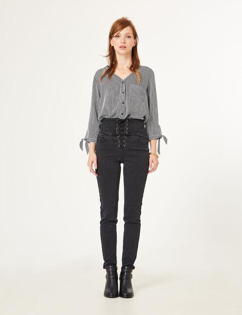 Black lace-up jeans