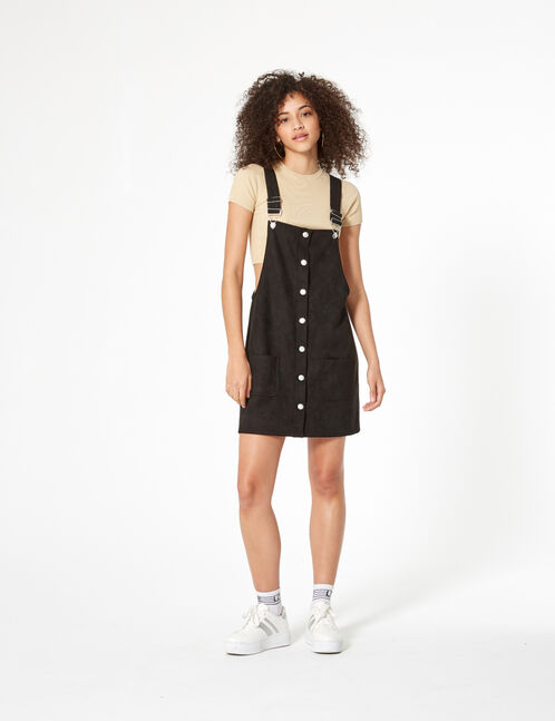 Black faux suede dungaree dress