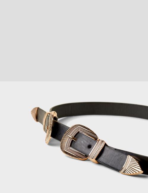 Black western-style double belt