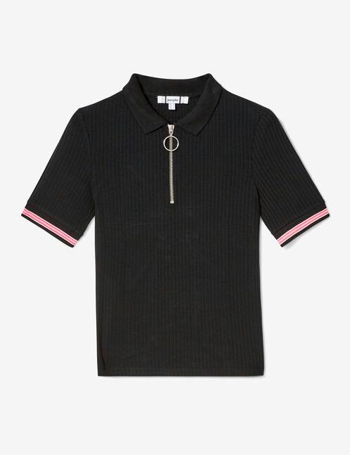 Black zipped polo-style T-shirt