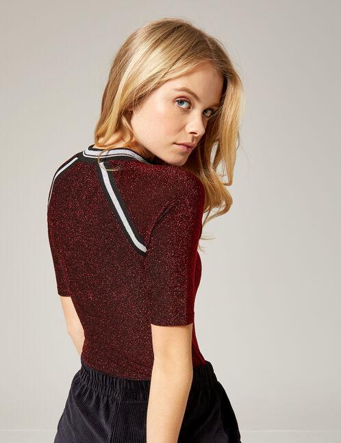 Burgundy bodysuit with zip detail