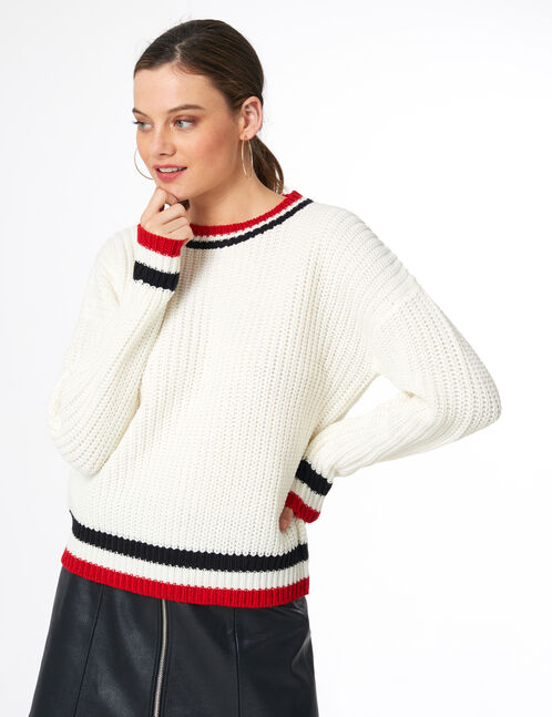 Cream jumper with striped edging