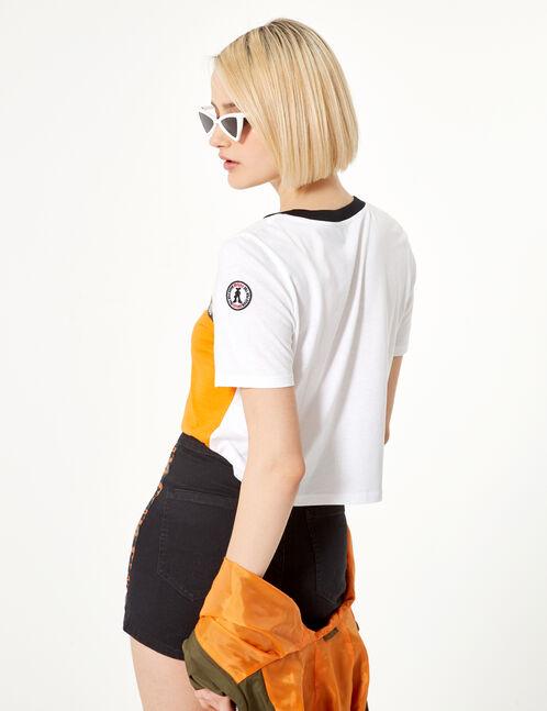 tee-shirt à message orange blanc et noir