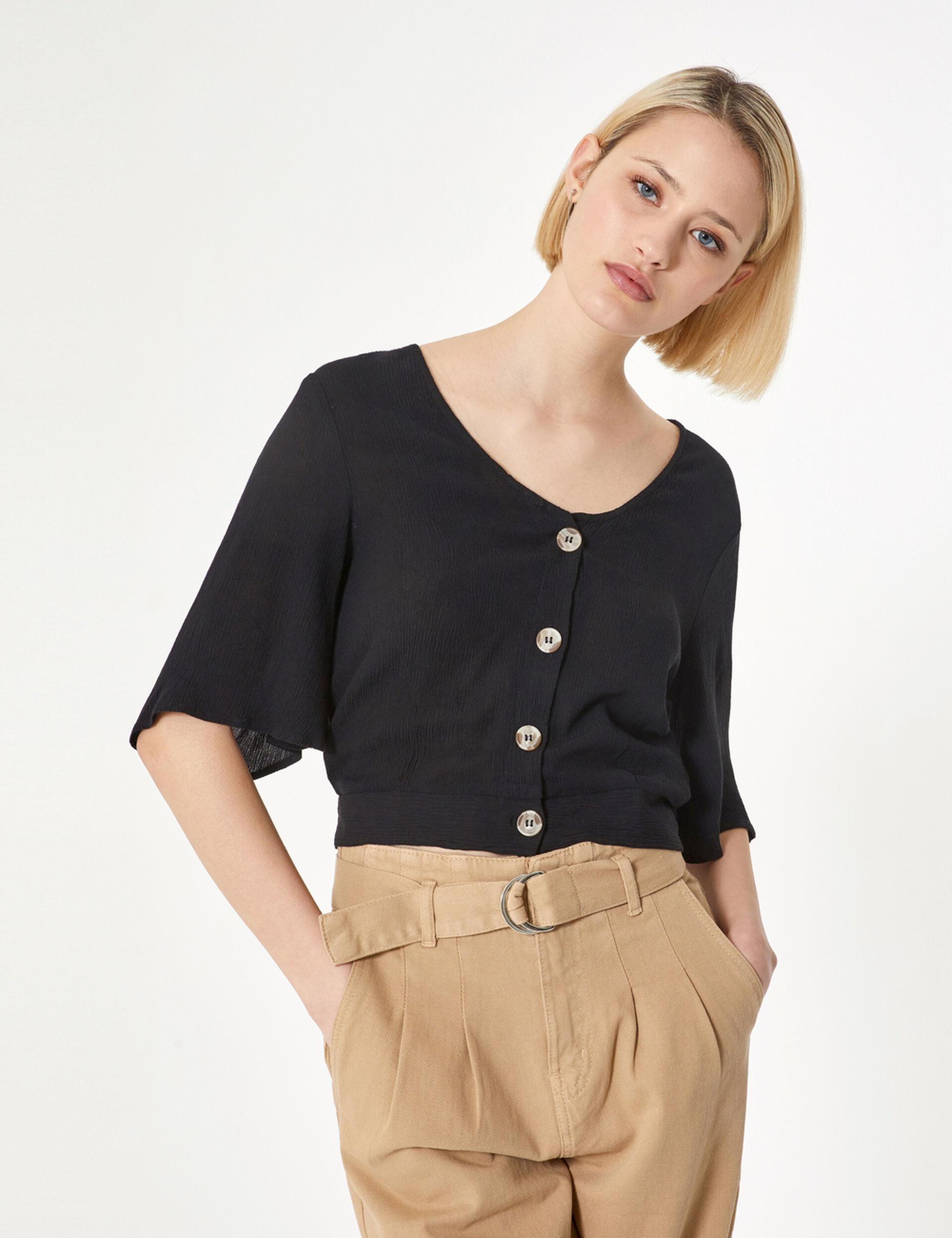 Black buttoned blouse